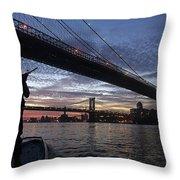 On Duty By Brooklyn Bridge New York Throw Pillow