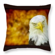 On Fire The American Bald Eagle Throw Pillow
