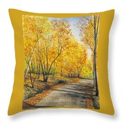 On Golden Road Throw Pillow
