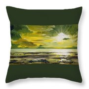 On Golden Shores Throw Pillow
