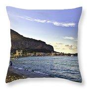 On Mondello Beach Throw Pillow