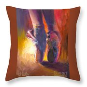 On Pointe At Sunrise Throw Pillow
