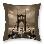 On St Johns Bridge Throw Pillow