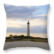 On The Beach At Cape May Lighthouse Throw Pillow