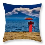 On The Beach At Coney Island Throw Pillow