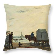 On The Beach At Trouville Throw Pillow