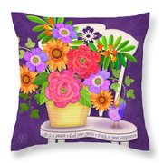 On The Bright Side - Flowers Of Faith Throw Pillow