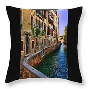 On The Canal-venice Throw Pillow