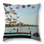 On The Cherry Blossom Dock Throw Pillow