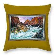 On The Coast Of Cornwall L A With Decorative Ornate Printed Frame. Throw Pillow