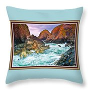 On The Coast Of Cornwall L B With Decorative Ornate Printed Frame. Throw Pillow