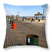 On The Coney Island Boardwalk Throw Pillow