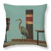On The Dock With Heron Throw Pillow