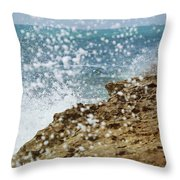 On The Edge Blowing Rocks Preserve Jupiter Island Florida Throw Pillow
