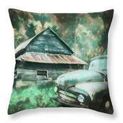 On The Edge Of The Green Mountains Painting Throw Pillow