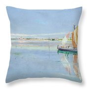 On The Lagoon Throw Pillow by John William Inchbold
