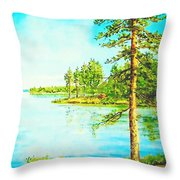 On The Lake In A Sunny Day 2 Throw Pillow