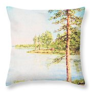On The Lake In A Sunny Day Throw Pillow