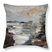 On The Pacific Shore Throw Pillow