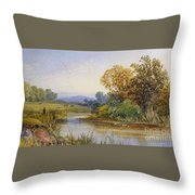 On The River Parret Throw Pillow