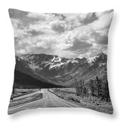 On The Road Alaska Bw Throw Pillow