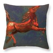 On The Run - Horse Throw Pillow