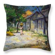 Village In Martinique Throw Pillow