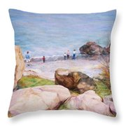 On The Shore Of The Ocean Throw Pillow