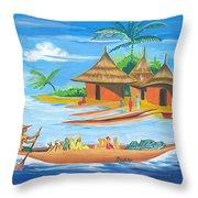 On The Shores Of Lake Kivu In Congo Throw Pillow