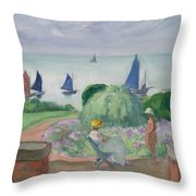 On The Terrace At Prefailles Throw Pillow
