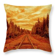 On The Tracks Throw Pillow