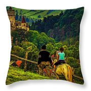 On The Way To Bran Castle Throw Pillow