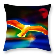On The Wings Of A Gull Throw Pillow