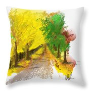 On The Yellow Road Throw Pillow