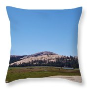 On Top Of The Mountain Valley Throw Pillow