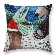 Once Bear And Salmon_part 1 Throw Pillow