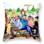 Once Upon A Park Bench Throw Pillow