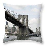 One Day At Brooklyn Bridge Throw Pillow