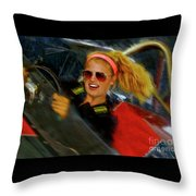 One Fast Girl Throw Pillow