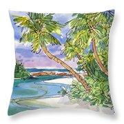 One-foot-island, Aitutaki Throw Pillow by Judith Kunzle