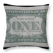 One Green Back Throw Pillow