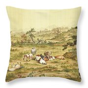 One Hundred Horses 5 Throw Pillow