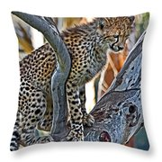 One Little Cheetah Sitting In A Tree Throw Pillow