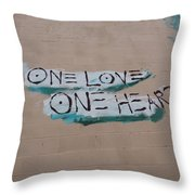 One Love One Heart Throw Pillow