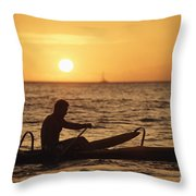 One Man Canoe Throw Pillow