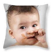 One Messy Baby Boy Sucking His Thumb Throw Pillow by Oleksiy Maksymenko