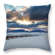 One More Moment - Sunburst Over White Sands New Mexico Throw Pillow