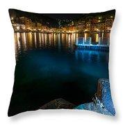 One Night In Portofino - Una Notte A Portofino Throw Pillow