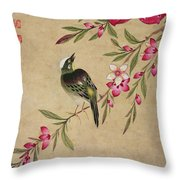 One Of A Series Of Paintings Of Birds And Fruit, Late 19th Century Throw Pillow
