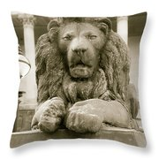 One Of Four Lion Statues Outside St George's Hall Liverpool Throw Pillow